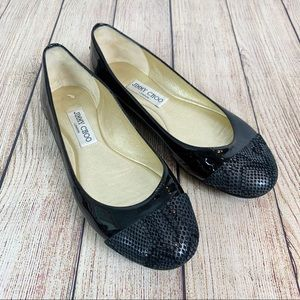 JIMMY CHOO Patent Leather Snakeskin Ballet Flats